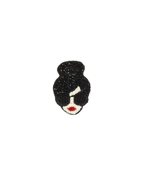 Alice + Olivia | Black Stace Face Embroidered Brooch | Lyst