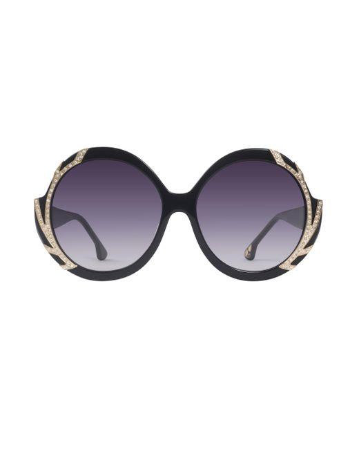 Alice + Olivia | Black Stacey Crystal Sunglasses | Lyst