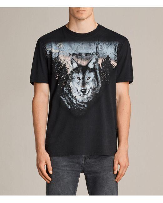 AllSaints | Black Night Wolvs Crew T-shirt for Men | Lyst