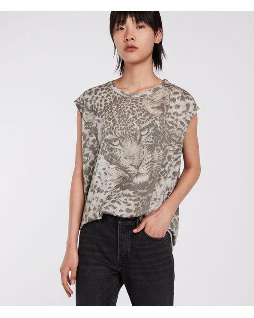 AllSaints - Gray Pardos Brooke Leopard T-shirt - Lyst