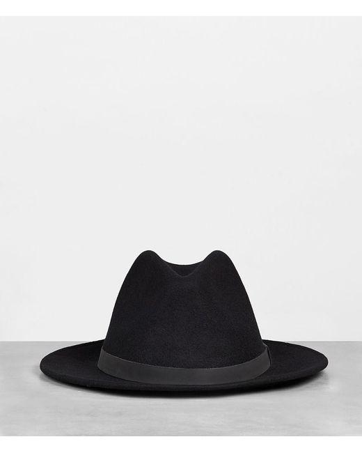 AllSaints - Black Bronson Leather Fedora Hat for Men - Lyst