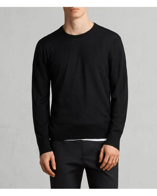AllSaints - Black Lang Merino Crew Sweater for Men - Lyst