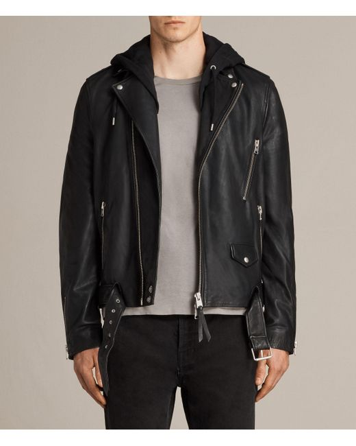 AllSaints | Black Stens Leather Biker Jacket for Men | Lyst