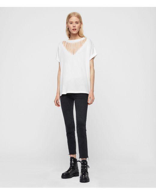 AllSaints White Imogen Boy Slash T-shirt