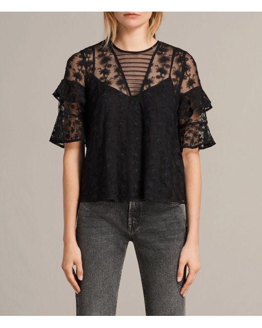 AllSaints | Black Henrietta Top | Lyst