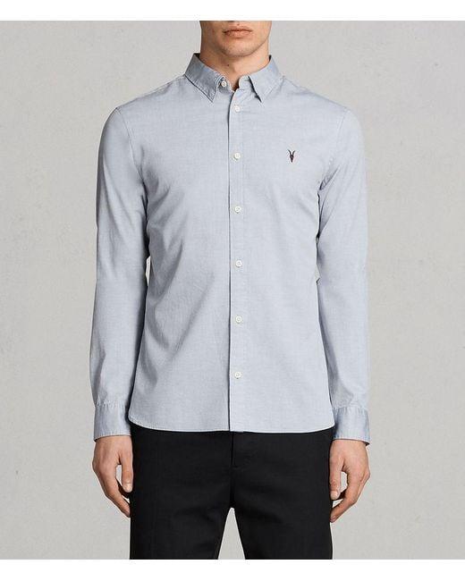 AllSaints - Gray Redondo Long Sleeve Shirt for Men - Lyst