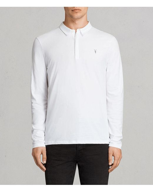 AllSaints - White Brace Long Sleeve Polo Shirt for Men - Lyst