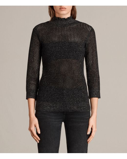 Allsaints Haze Metallic Jumper in Black | Lyst