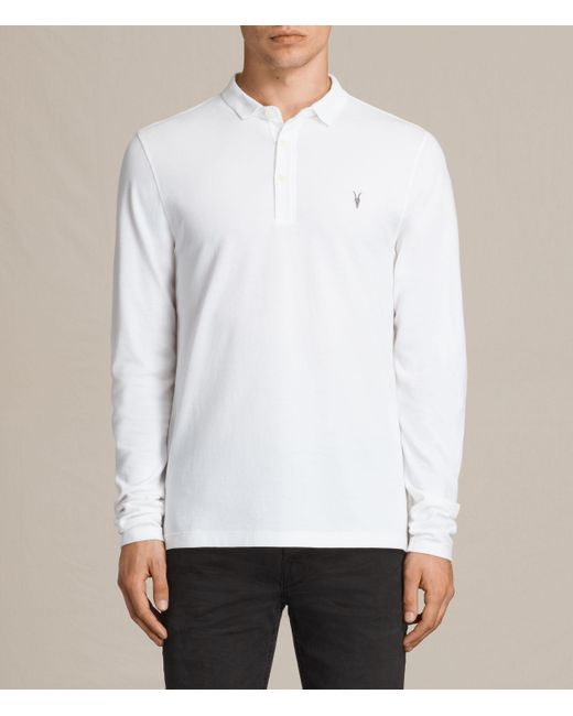 AllSaints | White Reform Long Sleeve Polo Shirt for Men | Lyst