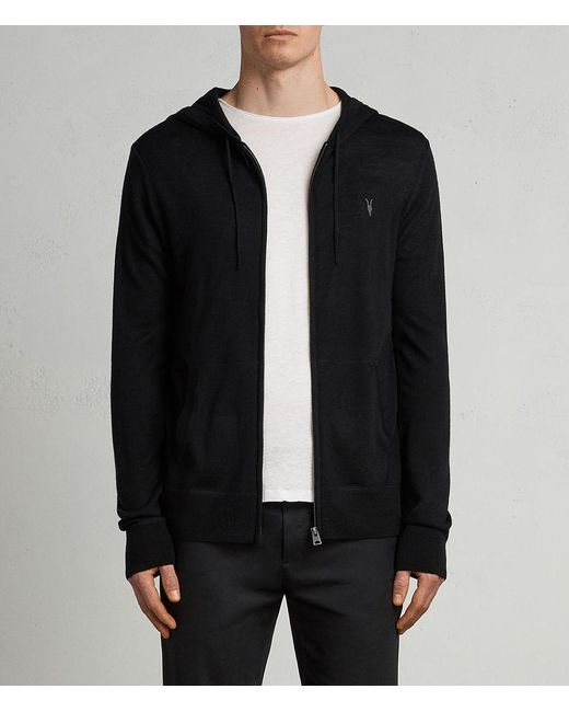 AllSaints - Black Mode Merino Zip Hoodie for Men - Lyst