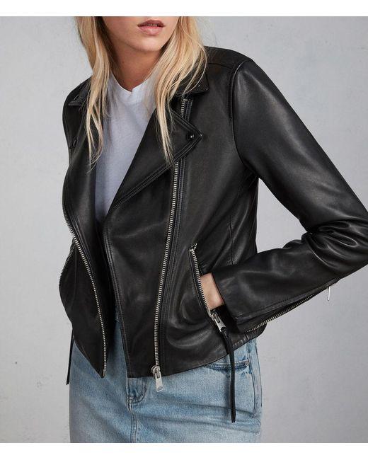 AllSaints - Black Dalby Leather Biker Jacket - Lyst