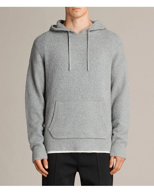AllSaints - Gray Arinn Knitted Hoodie for Men - Lyst