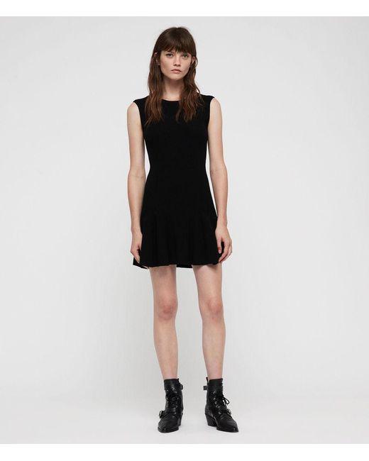 AllSaints - Black Cindy Dress - Lyst