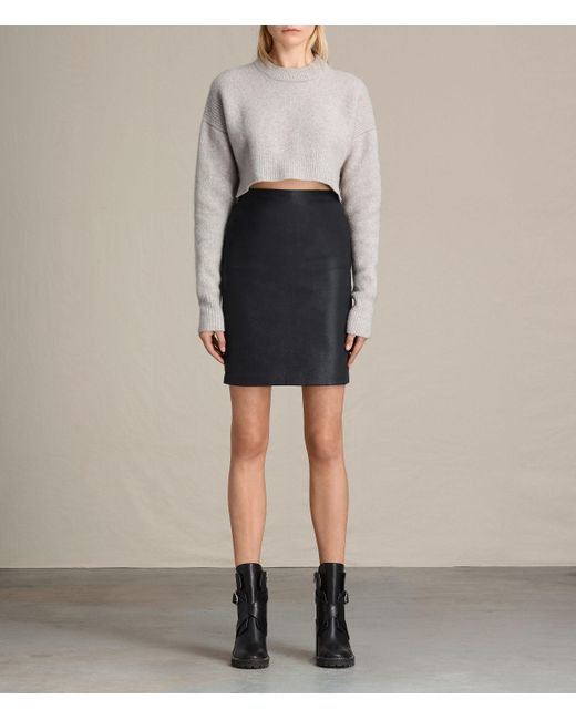 AllSaints | Black Metal Pencil Skirt Usa Usa | Lyst