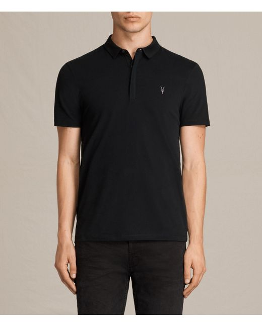 AllSaints | Black Brace Polo Shirt for Men | Lyst