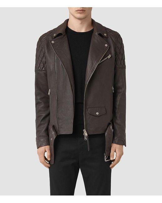 AllSaints - Gray Boyson Leather Biker Jacket for Men - Lyst