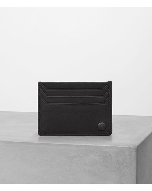 AllSaints - Black Shard Leather Cardholder for Men - Lyst