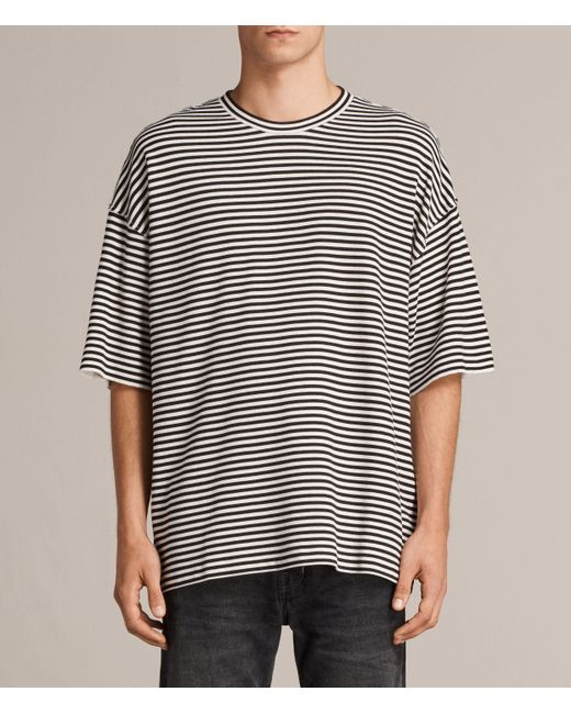 AllSaints | Black Torny Stripe Crew Sweatshirt for Men | Lyst