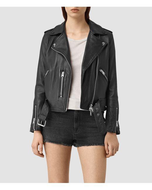 AllSaints   Black Balfern Palm Leather Biker Jacket   Lyst
