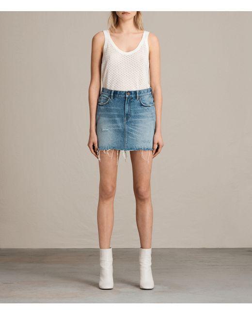 AllSaints   Blue Betty Denim Skirt   Lyst