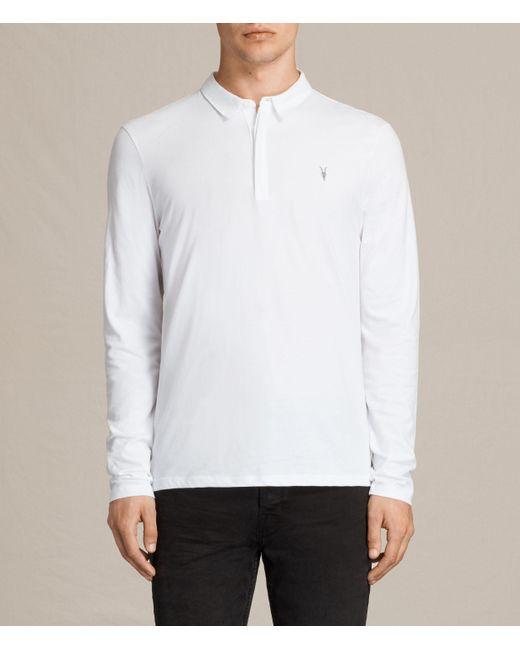 AllSaints   White Brace Long Sleeve Polo Shirt for Men   Lyst