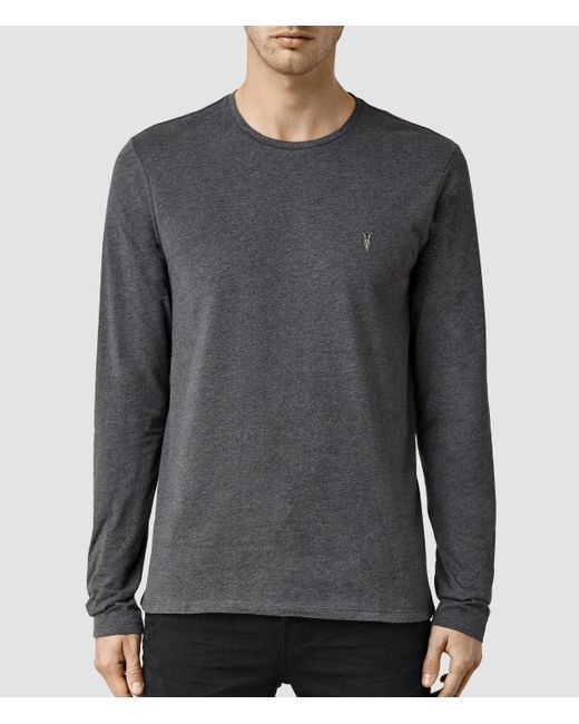 AllSaints | Gray Brace Long Sleeve Tonic Crew T-shirt for Men | Lyst