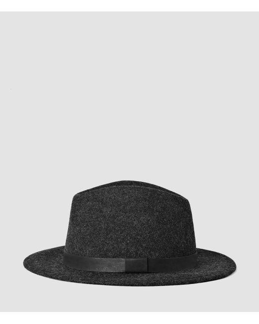 AllSaints   Gray Bronson Leather Fedora Hat for Men   Lyst