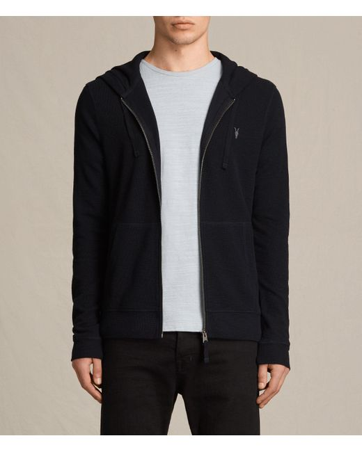 AllSaints | Blue Clash Hoody for Men | Lyst