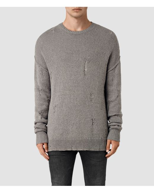 AllSaints | Gray Ektarr Crew Jumper for Men | Lyst