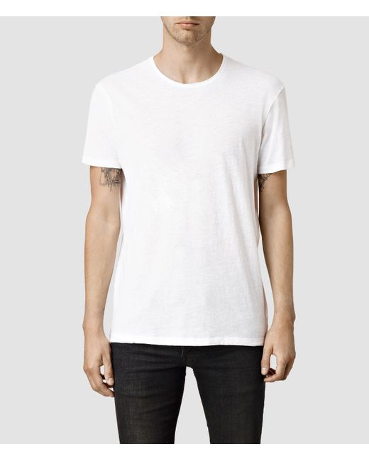 AllSaints | White Figure Crew T-shirt for Men | Lyst