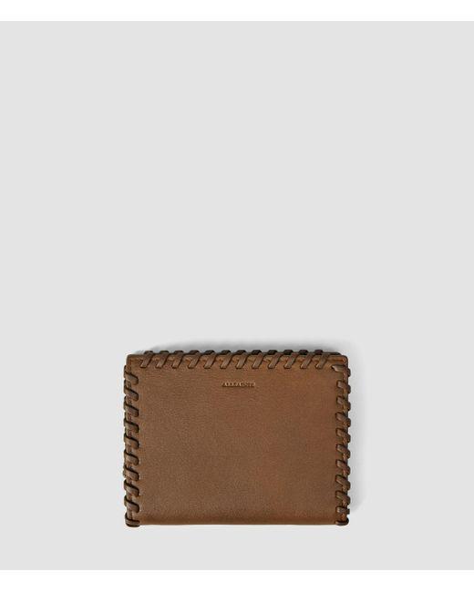 AllSaints | Brown Fleur De Lis Small Leather Wallet | Lyst