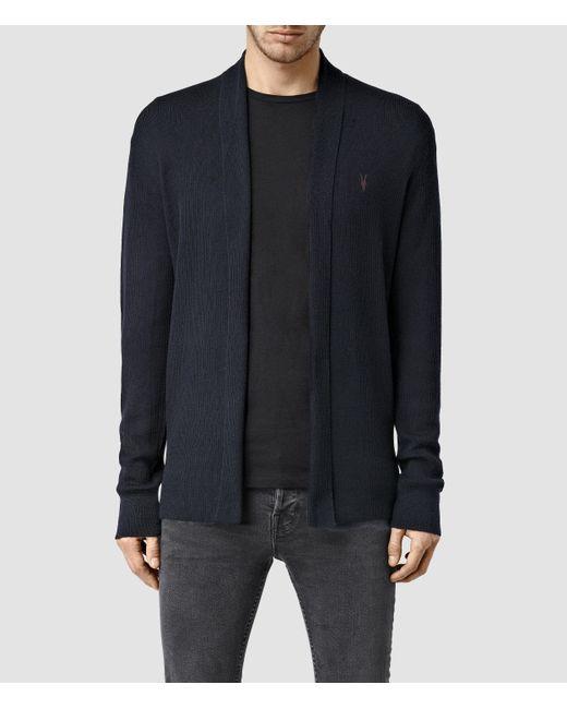 AllSaints | Blue Mode Merino Open Cardigan Usa Usa for Men | Lyst