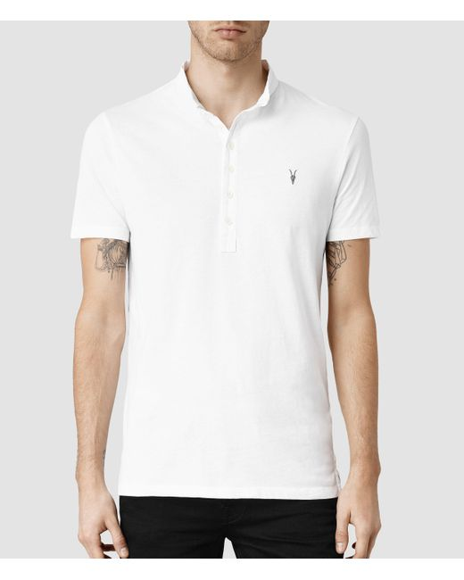 AllSaints | White Saints Polo Shirt for Men | Lyst