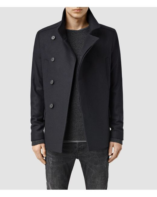AllSaints | Black Wade Pea Coat Usa Usa for Men | Lyst