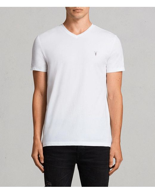AllSaints - White Tonic V-neck Tee for Men - Lyst