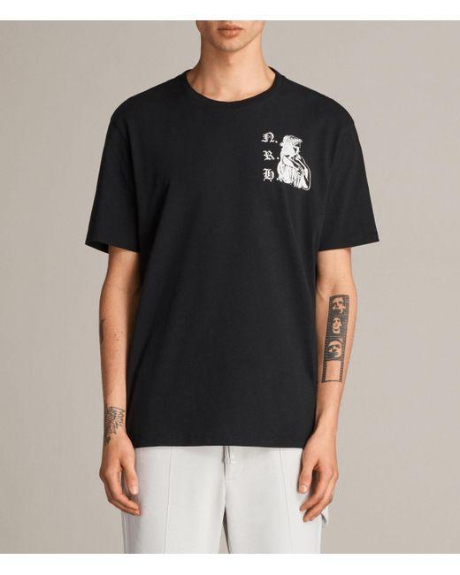 AllSaints | Black Busted Crew T-shirt for Men | Lyst