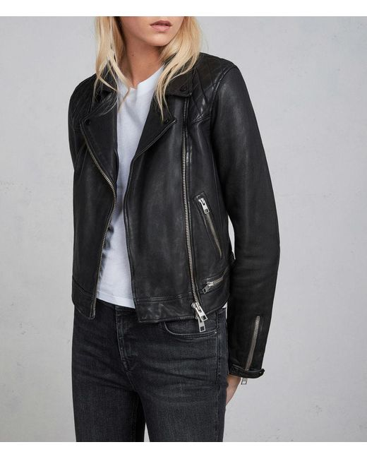 AllSaints - Blue Conroy Leather Biker Jacket Usa Usa - Lyst