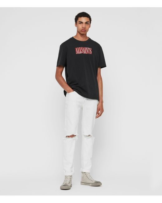 AllSaints White Rex Damaged Slim Jeans, Bleached Indigo Blue for men