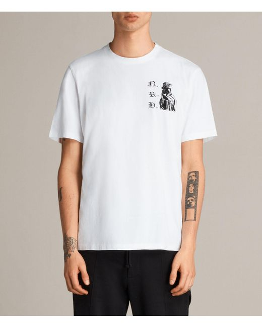 AllSaints | White Busted Crew T-shirt for Men | Lyst