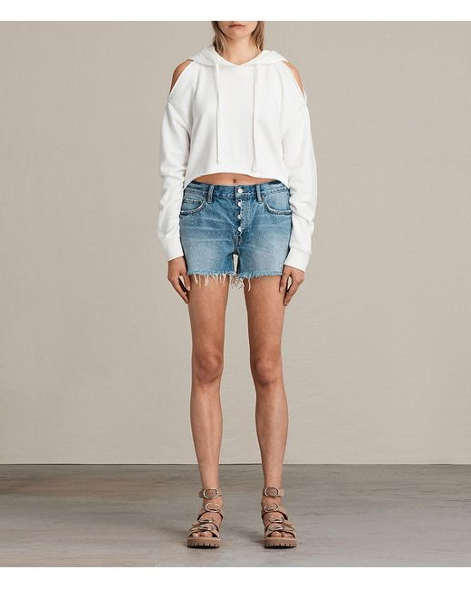 AllSaints - Blue Button Boy Shorts - Lyst