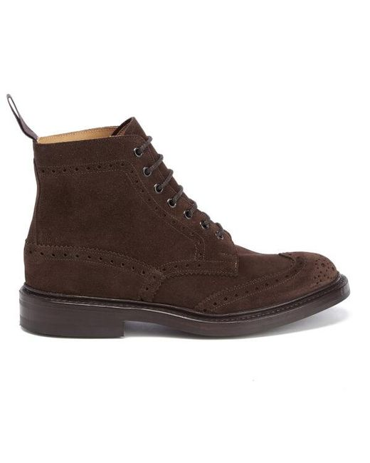 tricker s stow suede brogue boots in brown for save