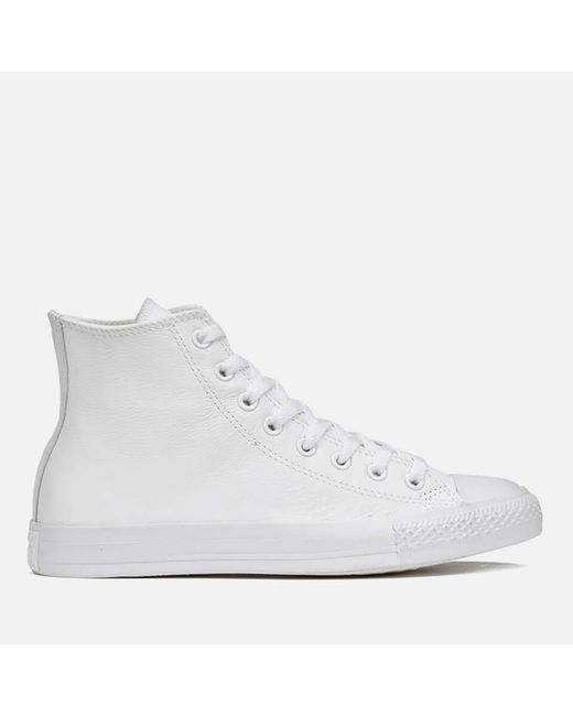 Converse - White Unisex Chuck Taylor All Star Leather Hitop Trainers - Lyst