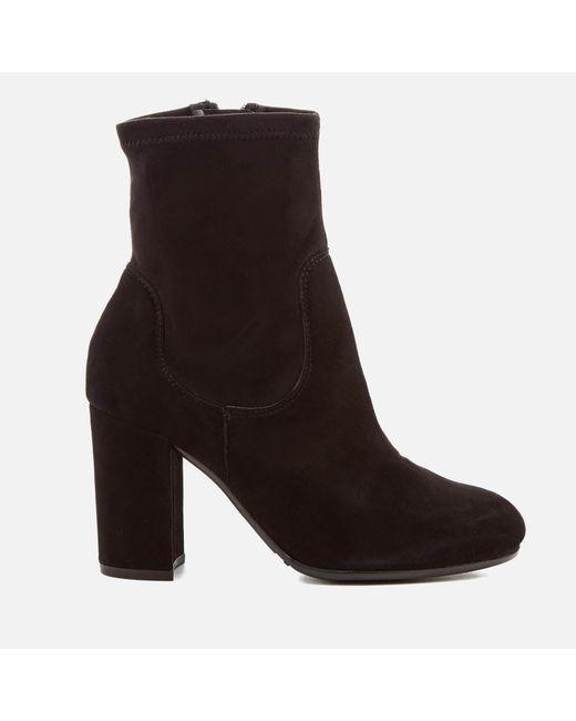 Dune   Black Women's Oakes Suede Heeled Sock Boots   Lyst