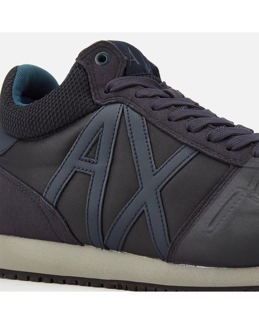 a270b1fee73 ... Armani Exchange - Blue Mid Cut Running Style Trainers for Men - Lyst
