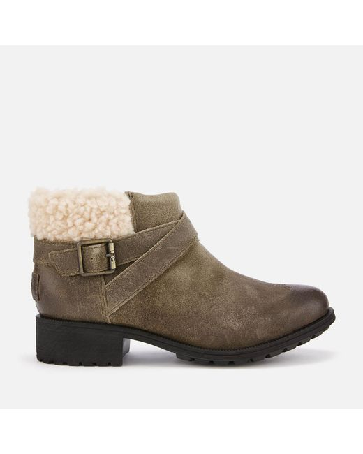 Ugg - Gray Benson Waterproof Leather Ankle Boots - Lyst