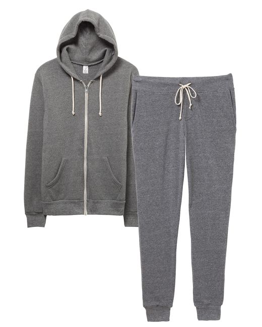 Alternative Apparel - Gray Warm-up Suit Hoodie And Pants 2-pk Bundle for Men - Lyst