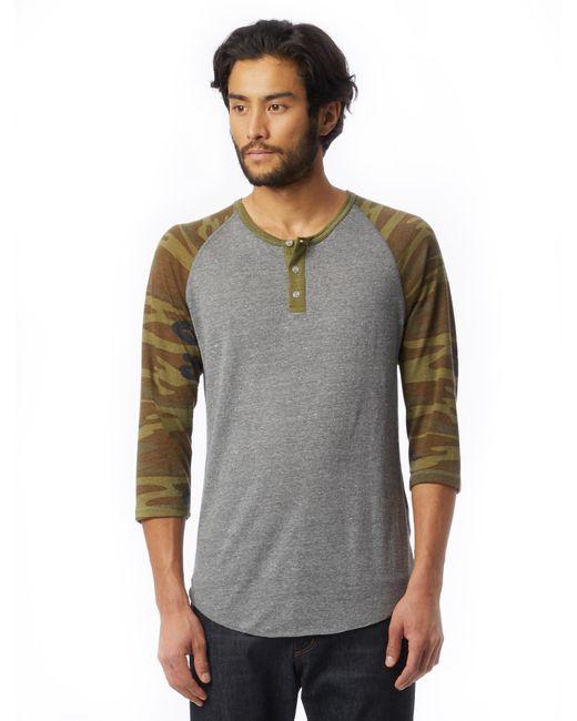 Alternative Apparel - Green Basic Printed Eco-jersey Raglan Henley Shirt for Men - Lyst