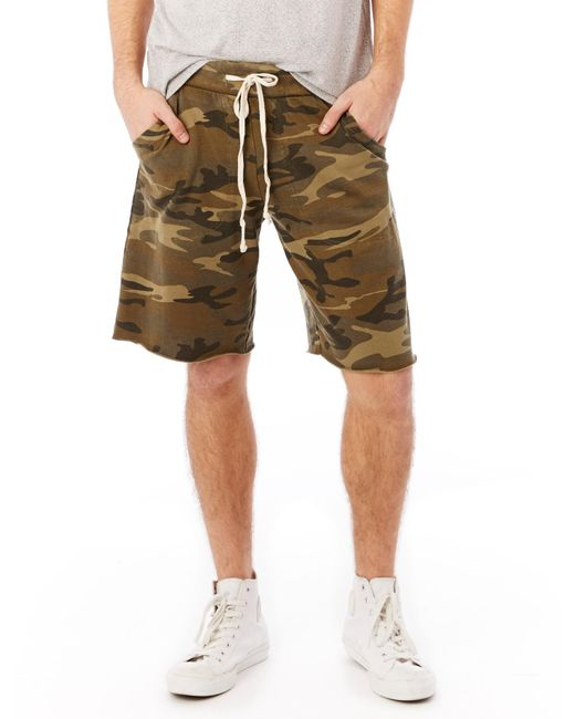 Alternative Apparel | Green Victory Printed Burnout French Terry Shorts | Lyst