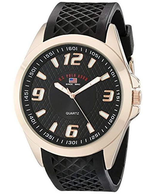U.S. POLO ASSN. - Sport Us9122 Black Textured Strap Analog Watch for Men - Lyst
