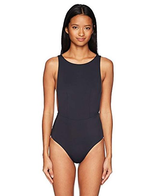 755d4a7c4a Lyst - Roxy Solid Softly Love One Piece Swimsuit in Blue - Save ...
